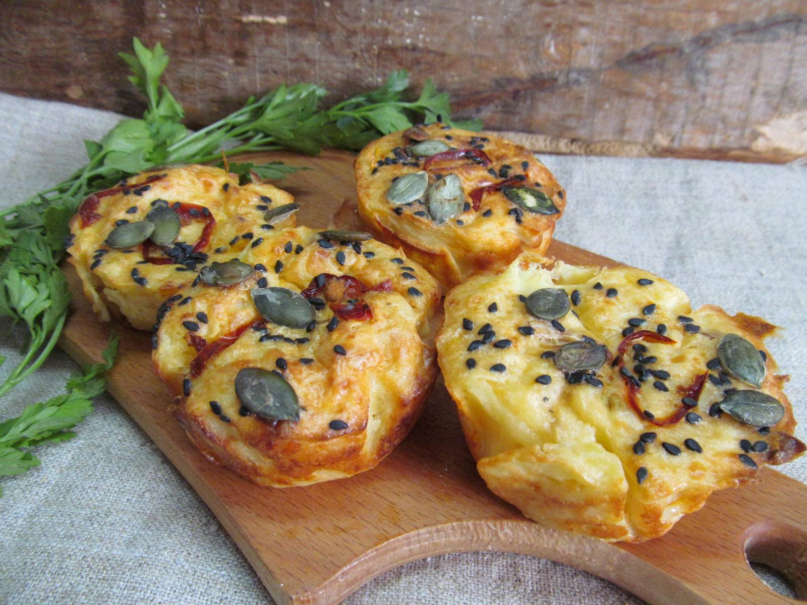 Картофельные мини-кексы со сливочным сыром