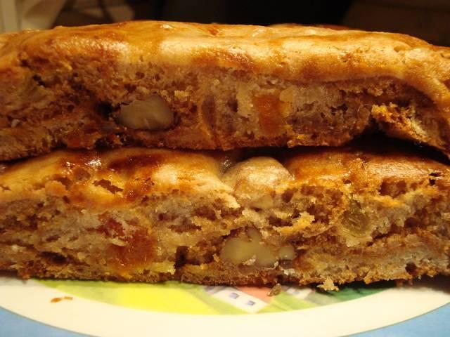 Пирог с курагой, изюмом, черносливом, в духовке и в мультиварке из дрожжевого, слоеного песочного теста