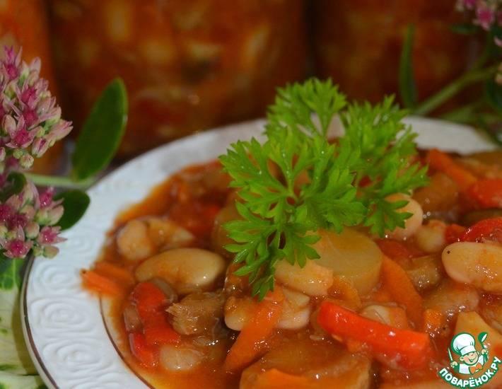 Фасоль зеленая с грибами