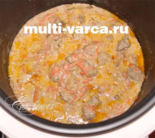 Куриная печень в мультиварке - 7 пошаговых фото в рецепте