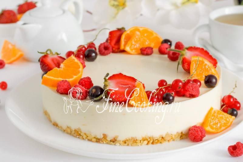 Чизкейк с фруктами без выпечки
