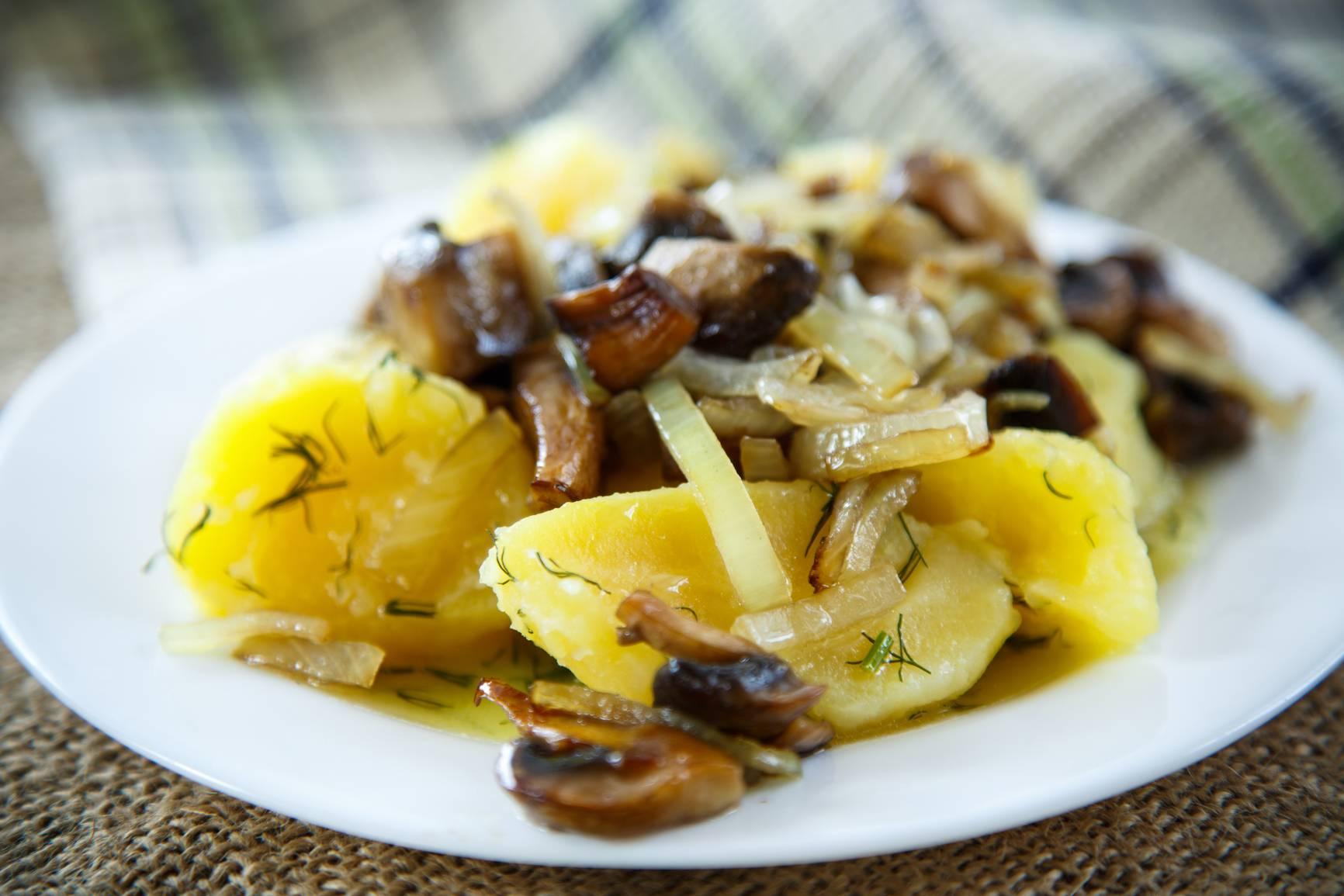 Опята жареные с картошкой - рецепты на сковороде и в мультиварке, с луком, сметаной, свининой