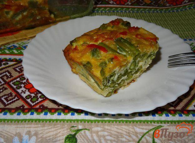 Запеканка из зеленой фасоли с хрустящим луком