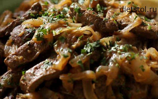 Печень с луком, жареные на сковороде - 10 пошаговых фото в рецепте