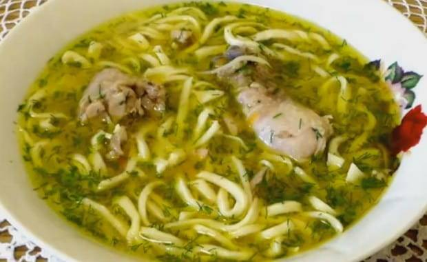 Суп с  лапшой из блинов