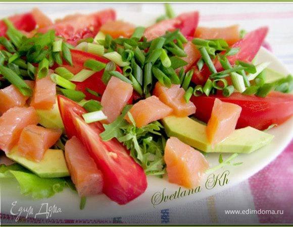 Салат из копченой курицы сманго иавокадо