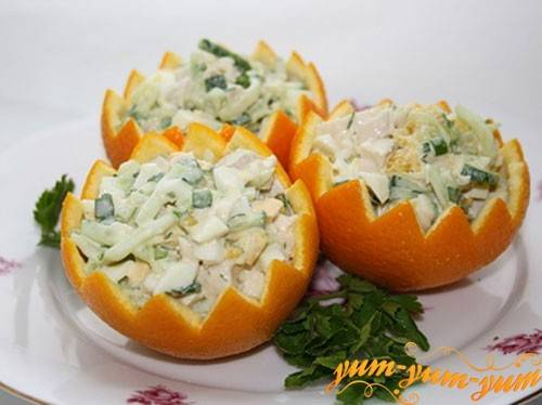 Рецепты салат из огурцов с апельсином
