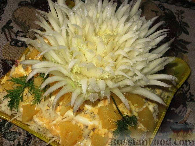 Салат хризантема с говядиной и сливочным маслом. овощная хризантема — находка для гурманов