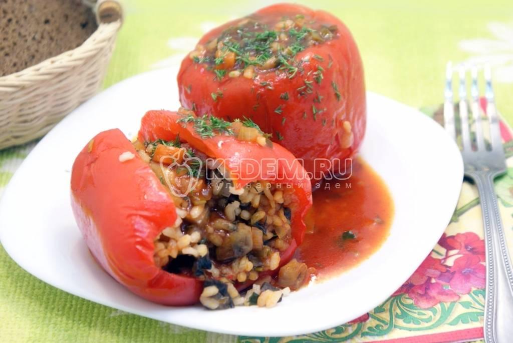 Фаршированный перец с грибами и рисом