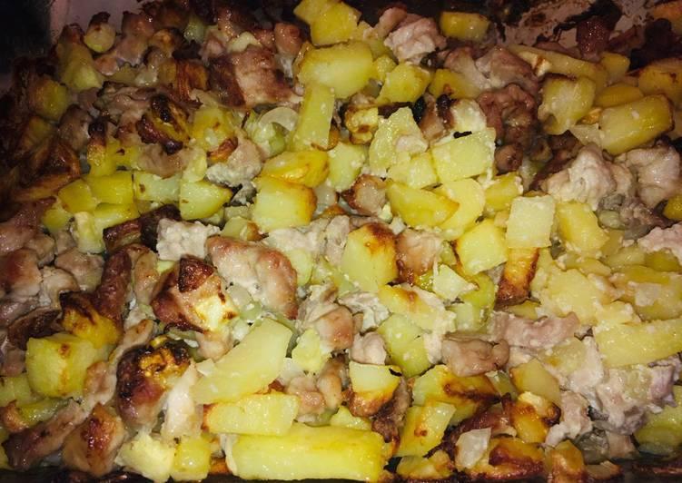 Картошка с кабачком и курицей