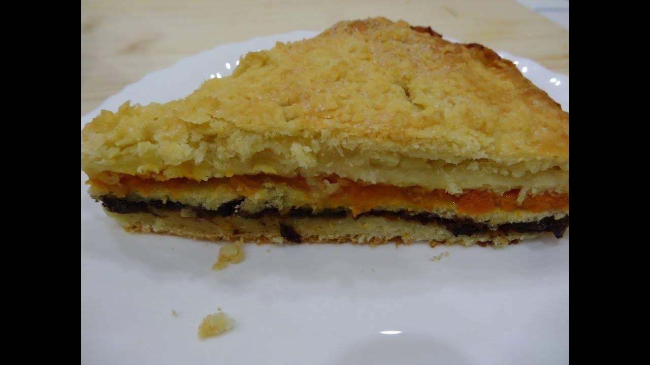 Пирог с курагой из песочного теста