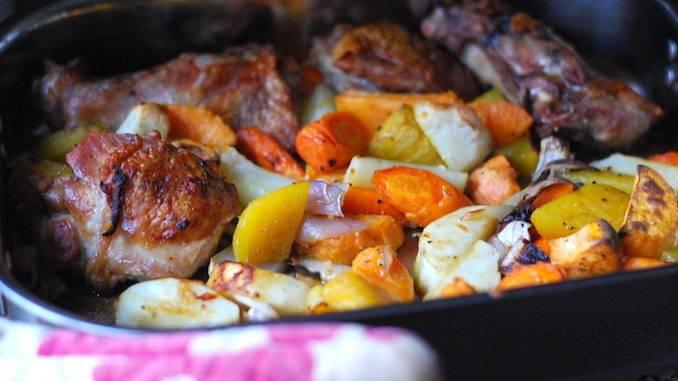 Филе индейки, запечeнное с овощами