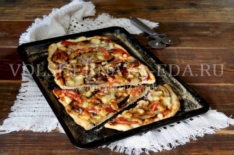 Пицца с баклажанами и сладким перцем