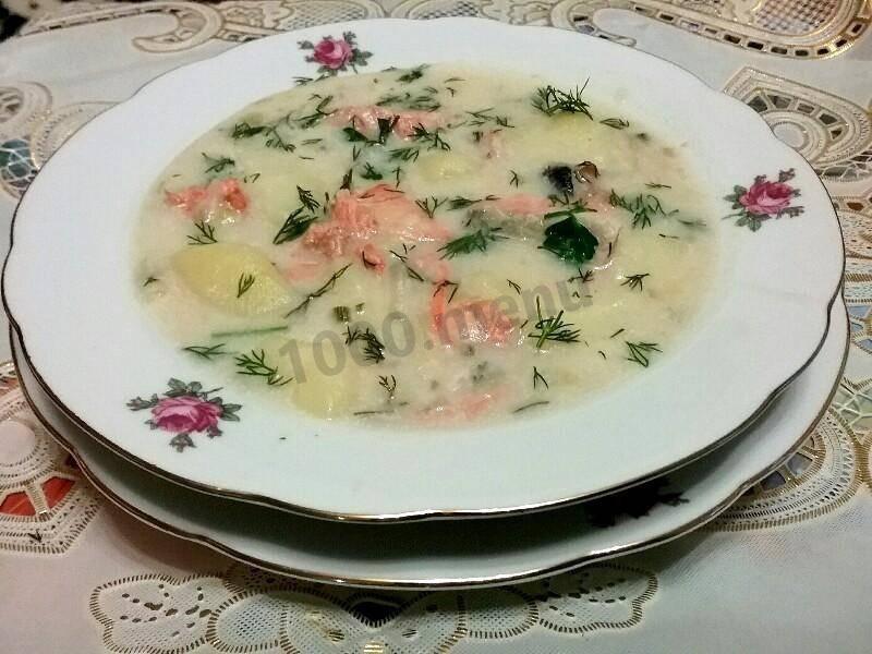 Суп с лососем и сливками