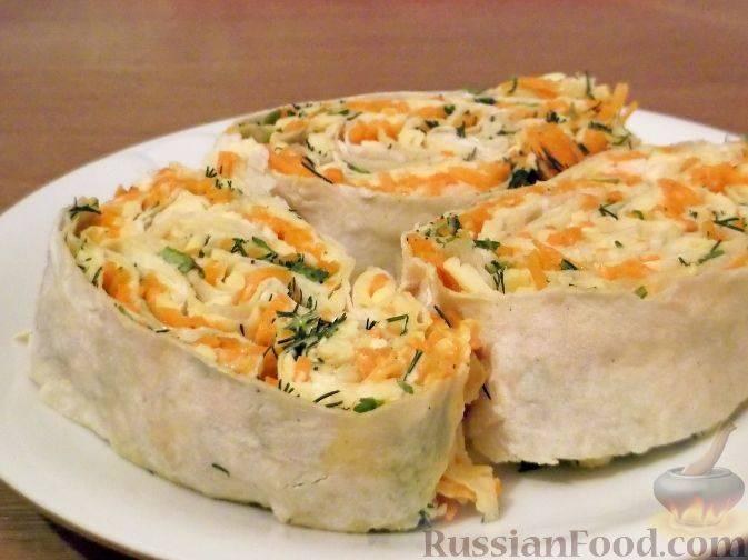 Рулет из лаваша с корейской морковью - как быстро приготовить с разными начинками по пошаговым рецептам с фото