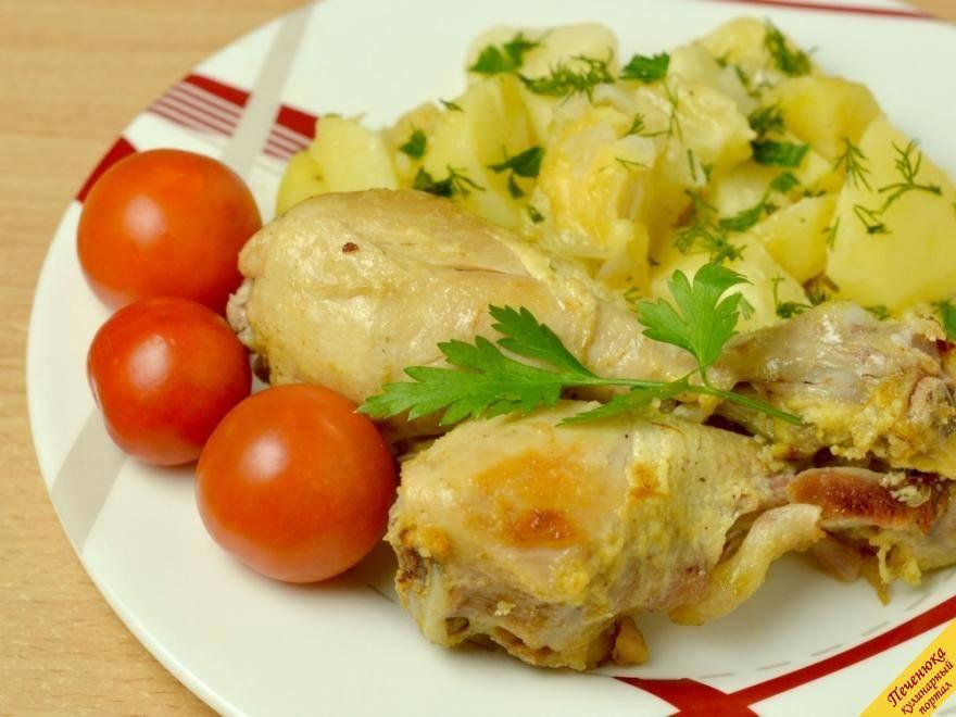 Вкусная и сытная куриная  голень с картошкой под сыром
