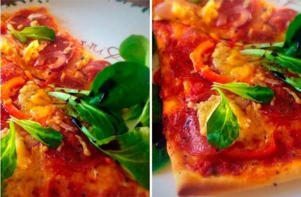 Пицца на сковороде с колбасой и луком