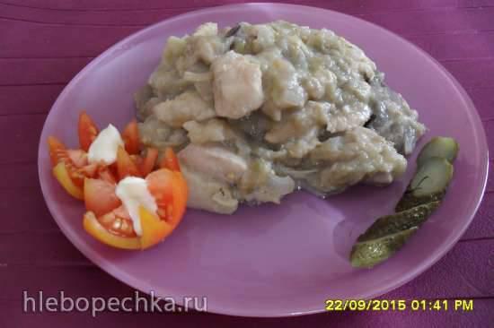 Баклажаны с грибами в сливочно-сырном соусе