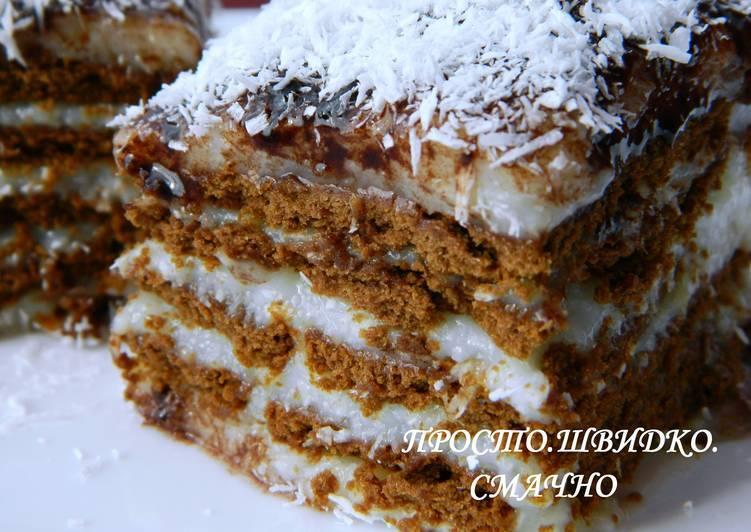 Ленивый торт из печенья с чудо-кремом