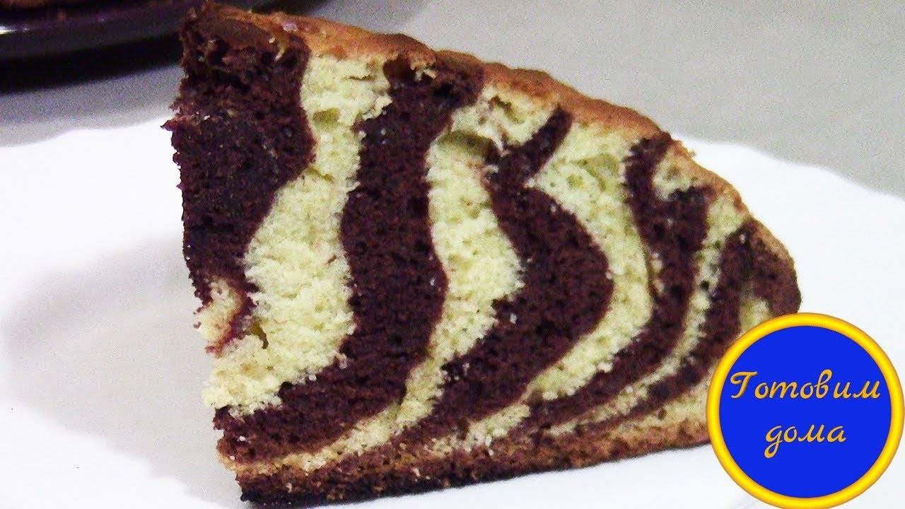 Нежный и вкусный торт «зебра» на сметане (пошаговый рецепт с фото и видео)