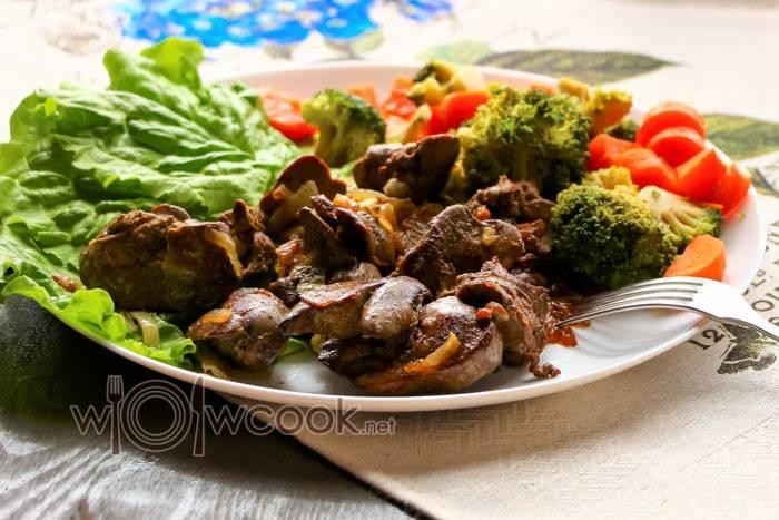 Куриная печень тушеная с овощами, рецепт с фото