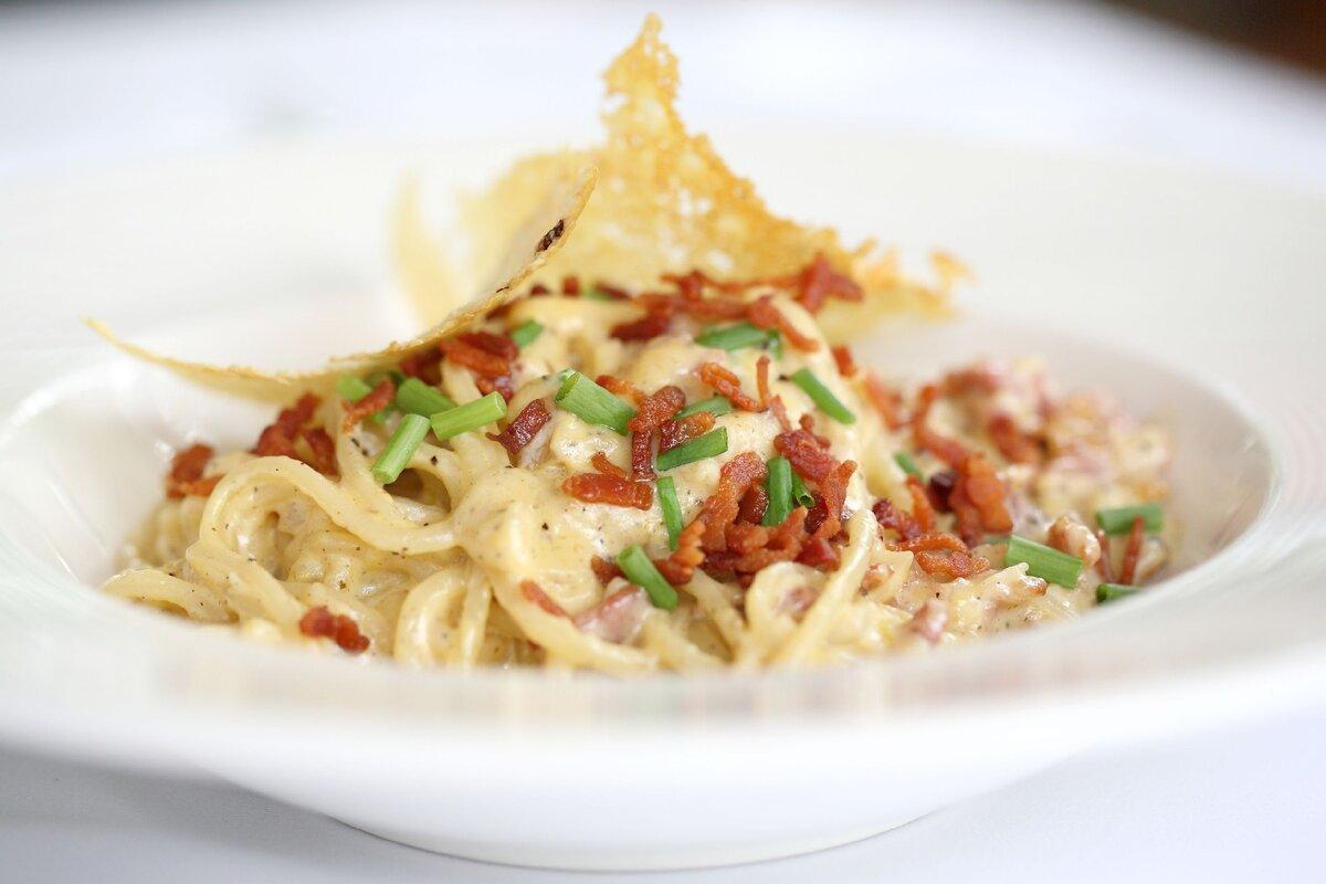 Спагетти с грибами под соусом бешамель