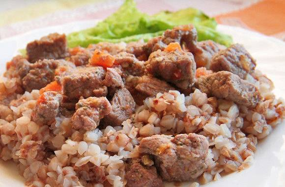 Постная гречка со стручковой фасолью и соевым мясом рецепт с фото