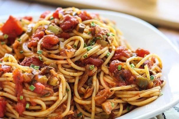 Быстрая запеканка из спагетти и фарша на ужин