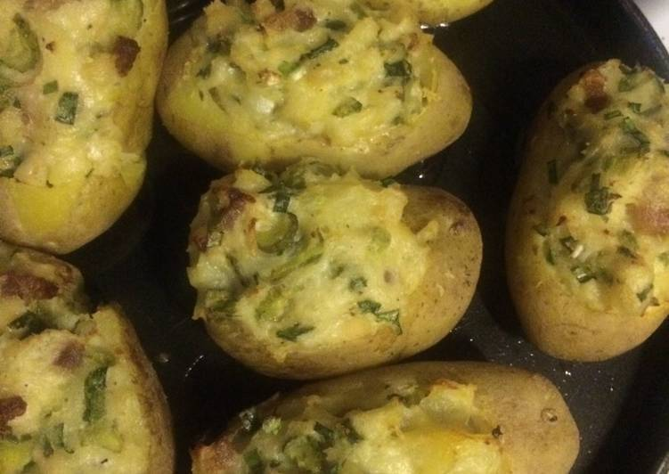 Картофельные лодочки, запеченные с фаршем