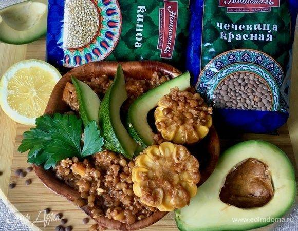 Быстрый салат с гуакамоле и киноа