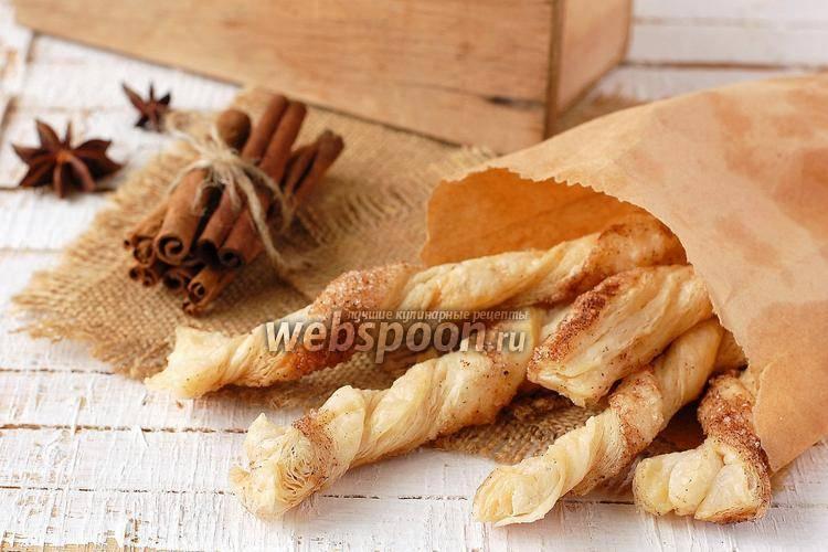 Печенье из готового слоеного теста «ушки с корицей»