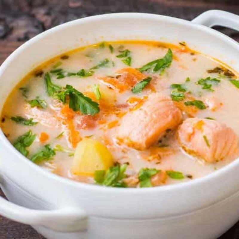 Суп из лосося со сливками по фински