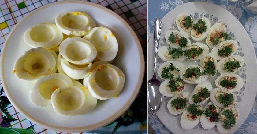 Яйца фаршированные креветками рецепт с фото