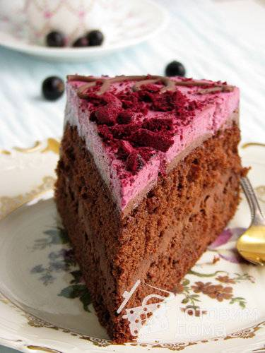 Бисквитный торт со смородиной и вишневым суфле