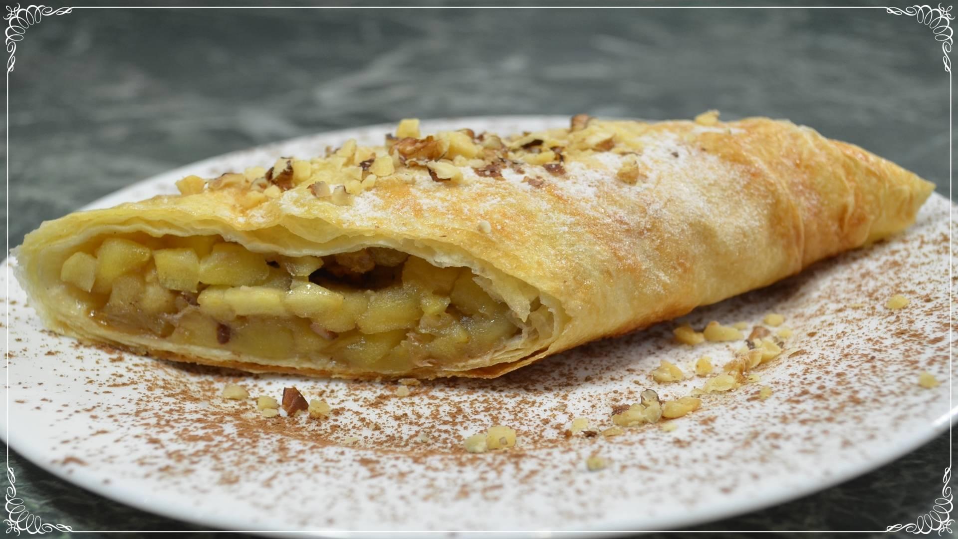 Ленивый штрудель из лаваша с яблоками, изюмом и орехами - очень простой рецепт