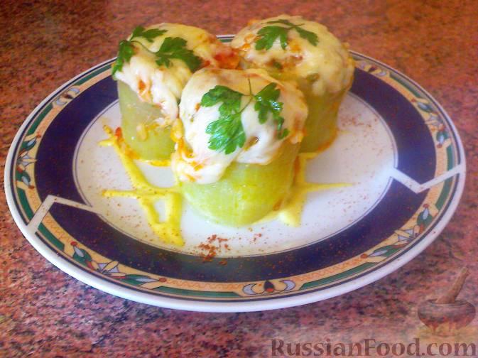 Кабачки фаршированные овощами и рисом в духовке