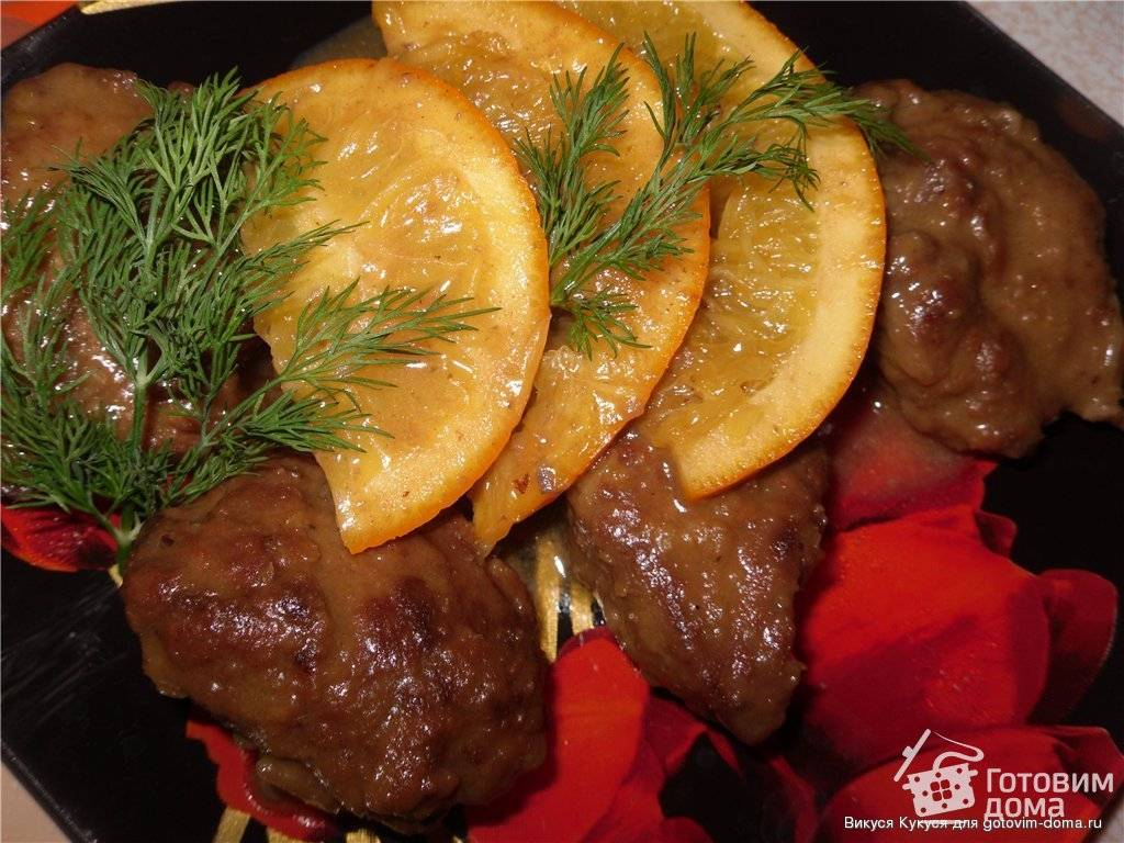 Куриная печень с апельсинами