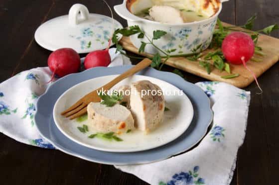 Сочное куриное филе, запеченное в молочном соусе