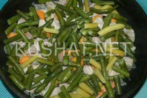 Свинина со стручковой фасолью: рецепт на сковороде с пошаговым фото