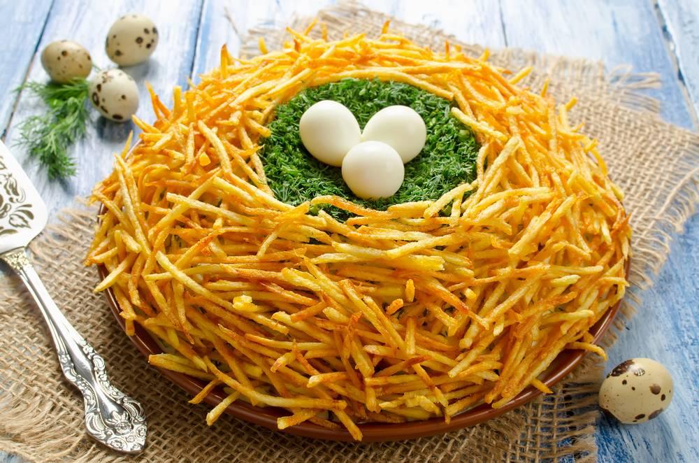 Салат гнездо кукушки пошаговый рецепт с фото