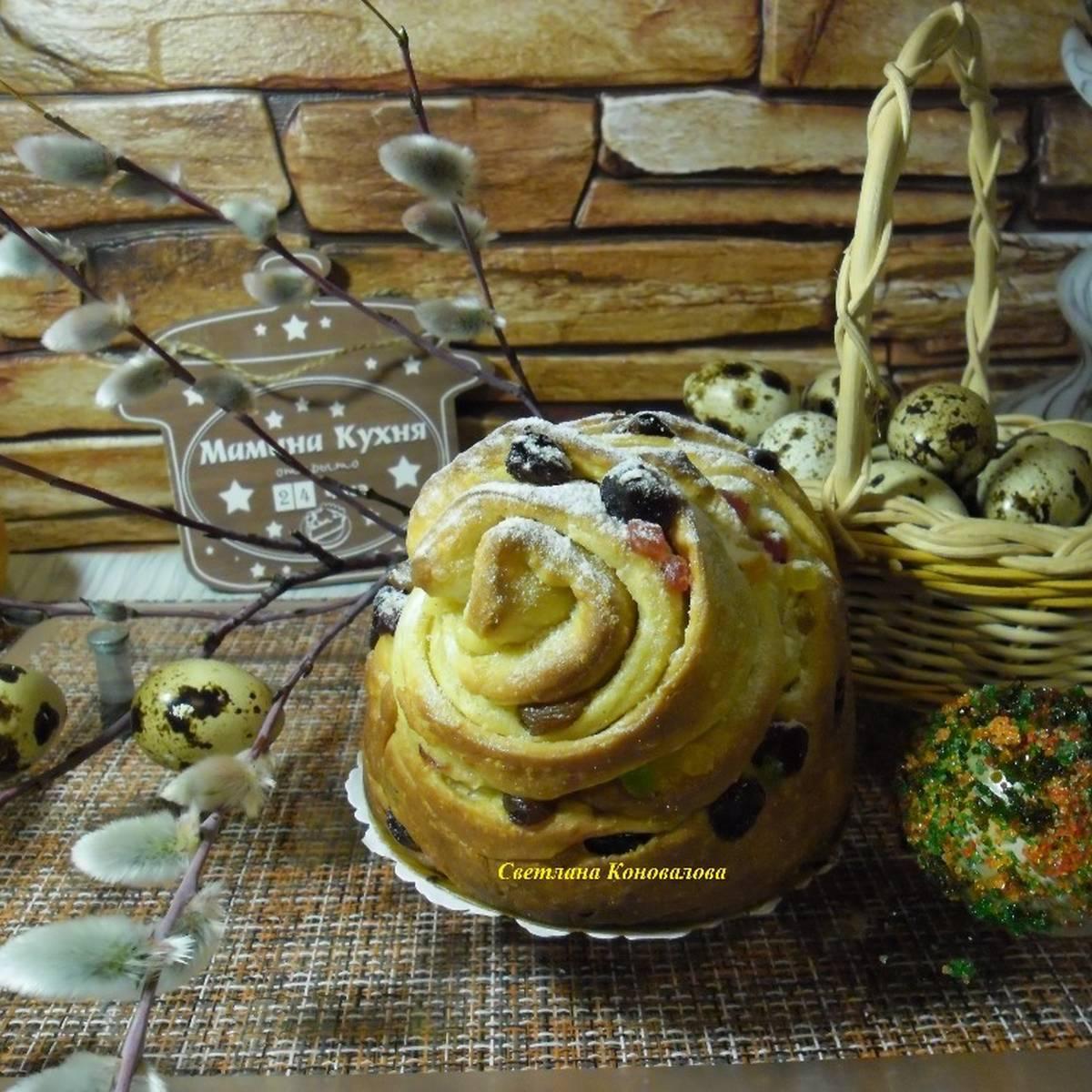 Пасхальный кулич краффин с изюмом и корицей