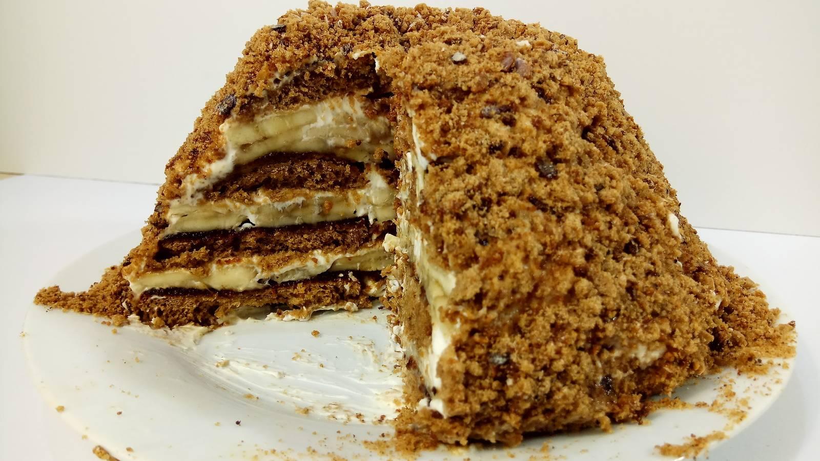 Пряничный торт без выпечки с шоколадным кремом