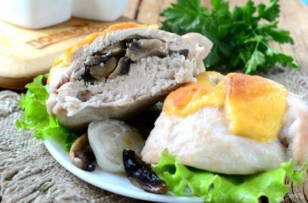 Куриные кармашки с гречкой и грибами