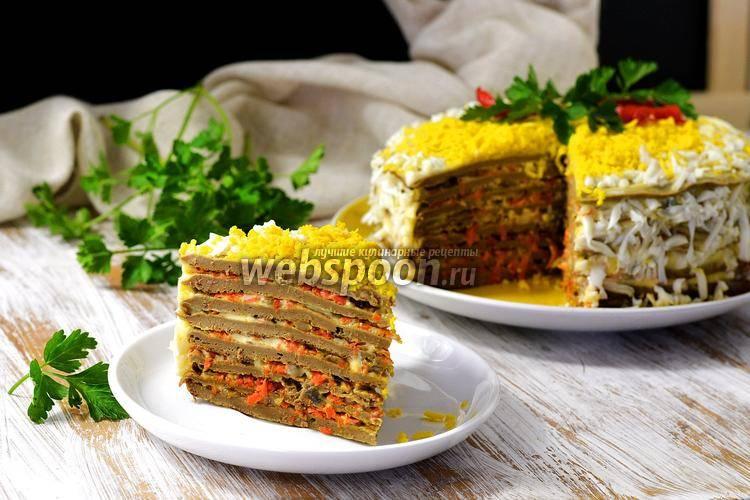 Домашний блинный торт с печенью, пошаговый рецепт с фото