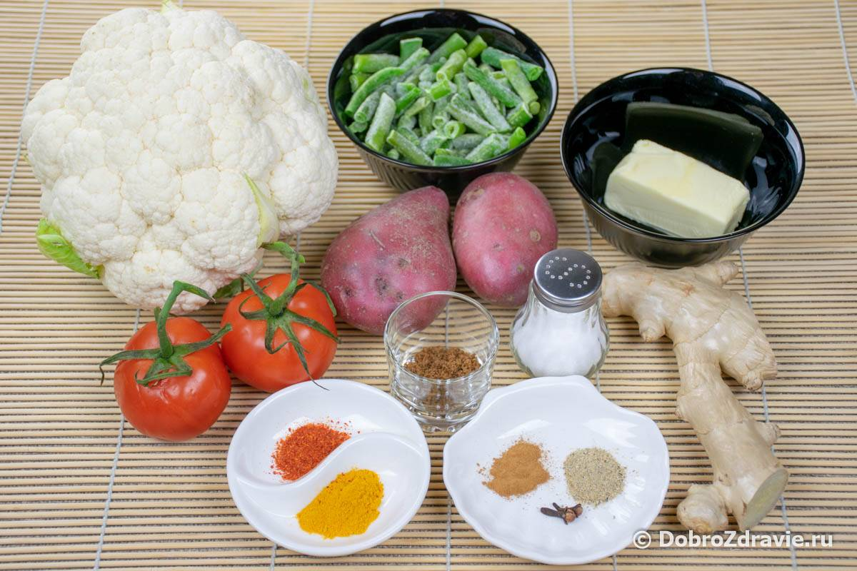Овощное рагу с рисом и фасолью