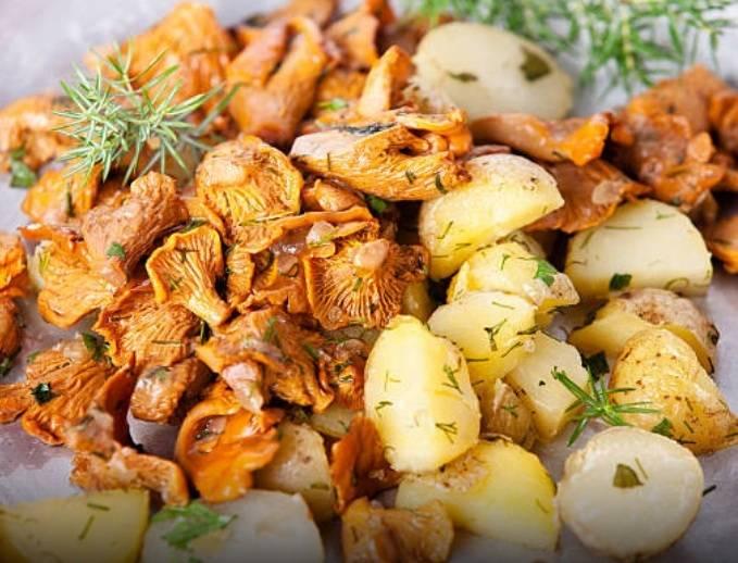Лисички с жареной картошкой - 17 пошаговых фото в рецепте
