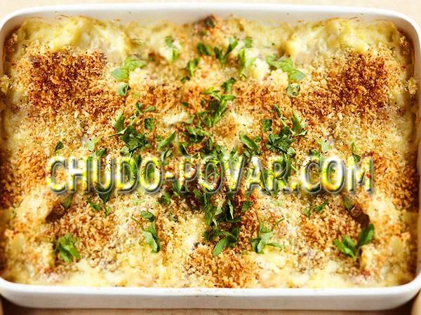 Постная картофельная запеканка с грибной начинкой