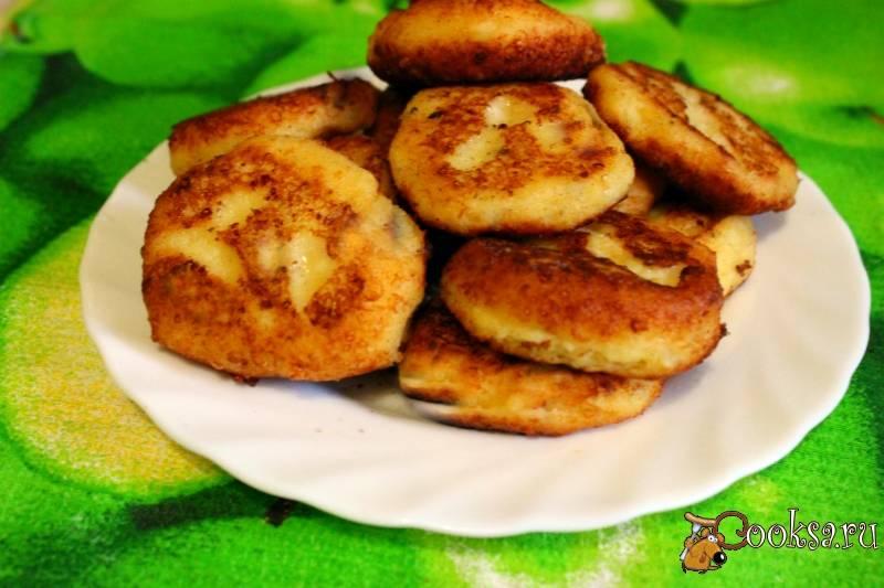Картофельно-рисовые оладьи с творогом
