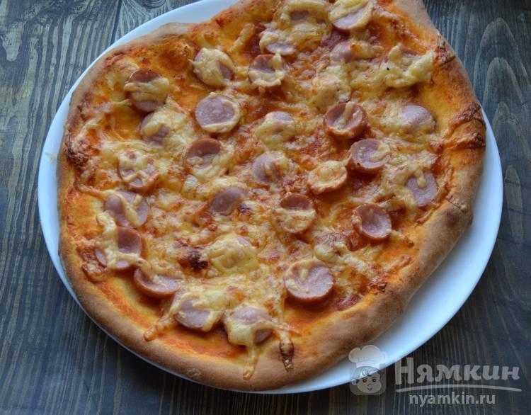 Быстрая пицца с сосисками на 23 февраля