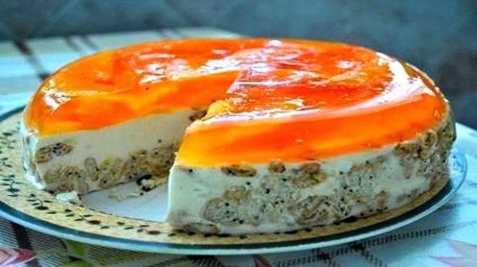 Творожно-апельсиновый торт со сметаной без выпечки